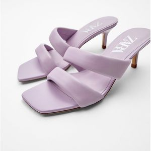 NWT ZARA Leather Sandals with Quilted Straps sz 6